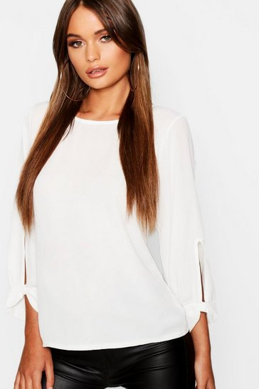 Ivory white White Bow Sleeve Woven Blouse