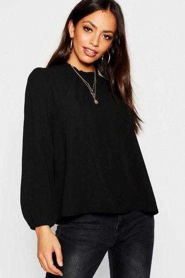 Black Frill Neck Long Sleeve Woven Blouse