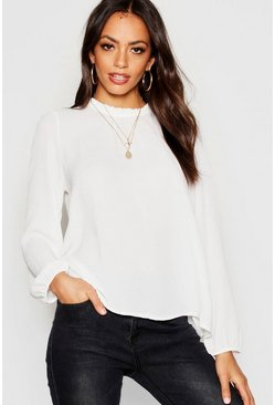 Ivory white Frill Neck Long Sleeve Woven Blouse