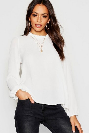 Ivory white White Frill Neck Long Sleeve Woven Blouse