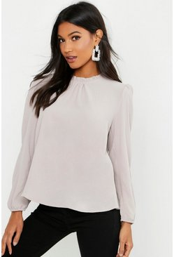 Stone Frill Neck Long Sleeve Woven Blouse