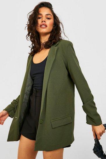 Khaki Ruched Sleeve Tailored Blazer