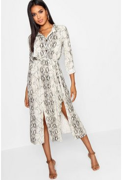Natural Snake Tie Belt Split Detail Midi Dress