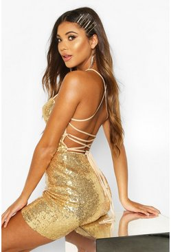 Gold metallic Sequin Strappy Back Bodycon Dress