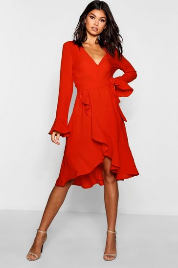 Red Plunge Neck Frill Detail Midi Dress