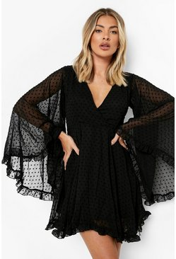 Black Dobby Chiffon Wide Sleeve Skater Dress