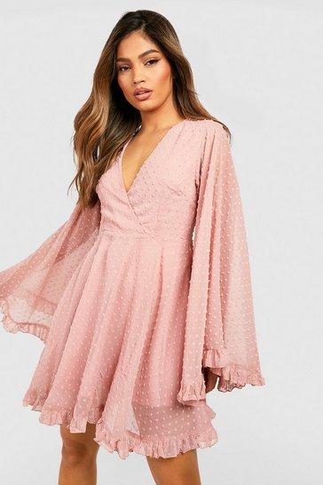 Blush pink Dobby Chiffon Wide Sleeve Skater Dress