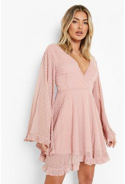 Blush pink Dobby Chiffon Wide Sleeve Skater Dress
