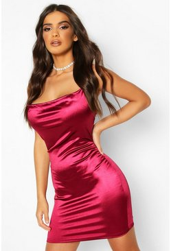 Berry red Satin Cowl Front Bodycon Dress