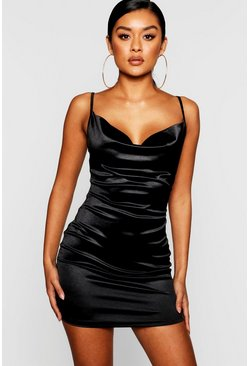 Black Satin Cowl Front Bodycon Dress