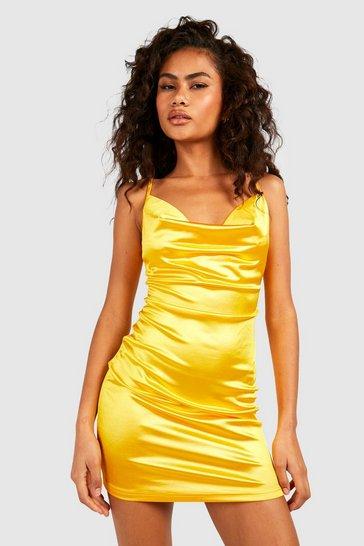 Mustard yellow Satin Cowl Front Bodycon Dress