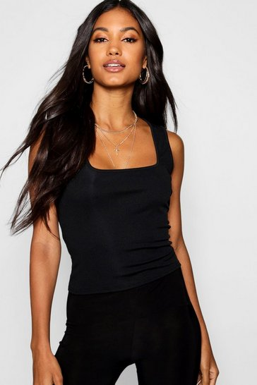 Black Basic Rib Square Neck Cami