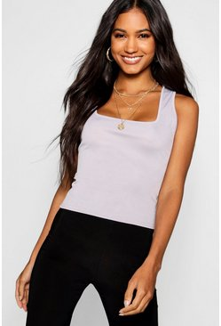 Grey marl grey Basic Rib Square Neck Cami