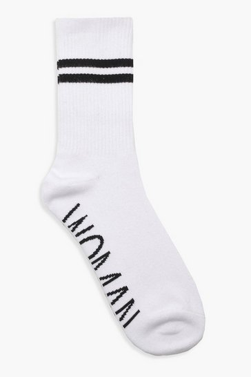 White WOMAN Sports Stripe Ankle Socks