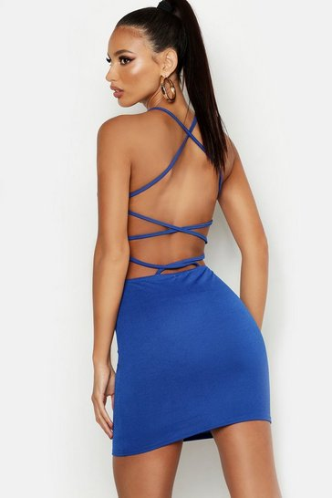 Cobalt blue Cross Strappy Back Bodycon Dress