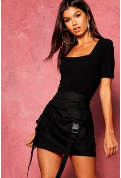 Black Woven Cargo Utility Pocket Mini Skirt