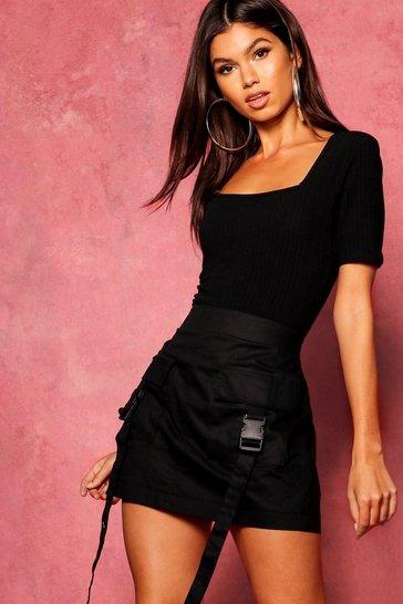 Black Woven Cargo Utility Pocket Mini Skirt