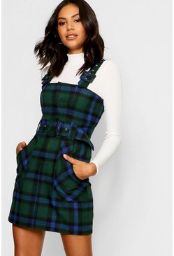 Green Checked Buckle Detail Pinafore Dress