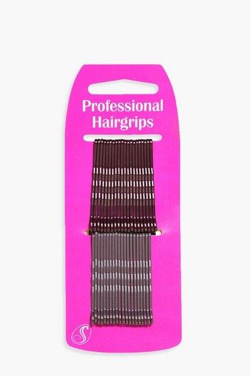 Brown Brunette Kirby Hair Grips 40 Pack
