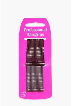 Brown Brunette Kirby Hair Grips 40 Pack