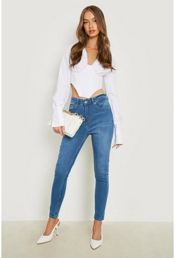 Middenblauw blue Mid Rise Booty Shaping Skinny Jeans