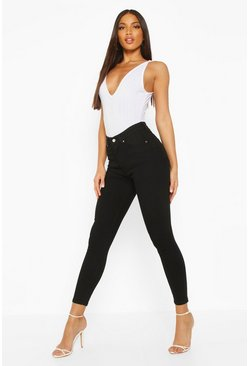 Black Mid Rise Butt Shaping Skinny Jeans
