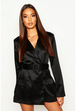 Black Satin Belted Blazer Playsuit