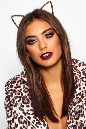 Brown Halloween Faux Fur Leopard Cat Ears