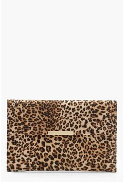 Natural beis Clutch tipo sobre con estampado de leopardo y barra