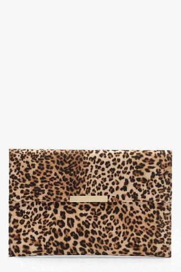Natural beige Leopard Envelope Clutch Bag