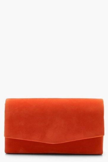 Rust orange Structured Suedette Clutch Bag & Chain