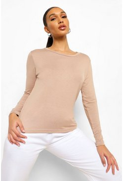Camel beige Basic Long Sleeve Crew Neck T-Shirt