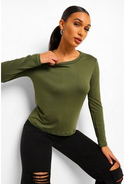 Khaki Basic Long Sleeve Crew Neck T-Shirt