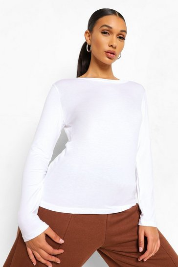 White Basic Long Sleeve Crew Neck T-Shirt
