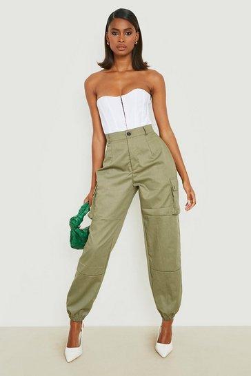 Khaki High Waist Woven Pocket Cargo Trousers