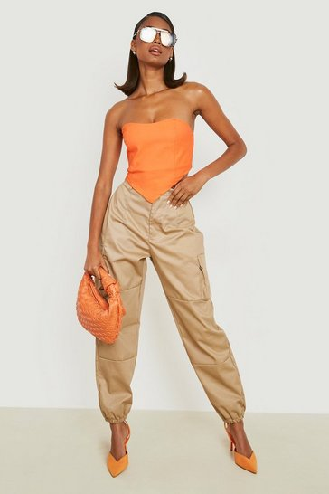 Sand beige High Waist Woven Pocket Cargo Trousers