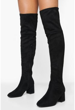 Black Block Heel Over The Knee Boots