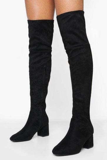 Black Block Heel Over The Knee High Boots
