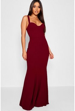 Berry red Fitted Fishtail Maxi Bridesmaid Dress