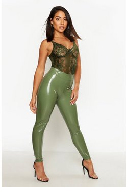 Khaki High Waist Stretch Vinyl Leggings