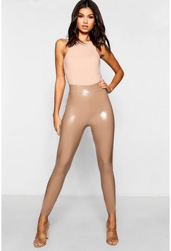 Sand beige High Waist Stretch Vinyl Leggings