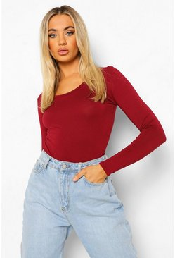Wine Basic Scoop Neck Long Sleeve Bodysuit