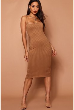 Camel beige Strappy Jumbo Rib Midi Dress