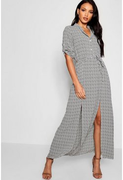 Ivory white Mini Polka Dot Double Split Maxi Shirt Dress