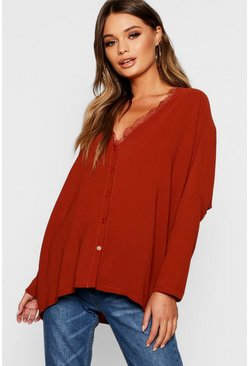 Rust orange Eyelash Lace Trim Oversized Woven Blouse