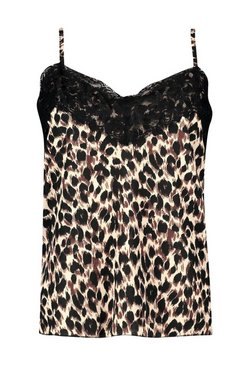Brown Leopard Print Lace Trim Cami
