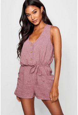 Berry Horn Button Down Pocket Playsuit