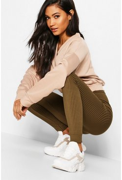 Khaki Basic Jumbo Ribbed High Waisted Leggings
