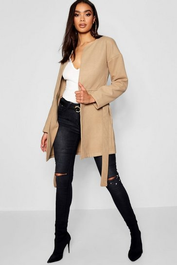 Camel Collarless Belted Wool Look Coat