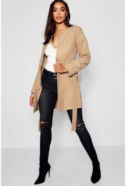 Camel beige Collarless Belted Wool Look Coat